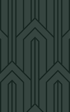 With clean lines and a uniform geometric print, this dark green Art Deco wallpaper is sure to make a statement. Motif Art Deco, Art Deco Pattern, Art Deco Design, Pattern Design, Wallpaper Art Deco, Luxury Wallpaper, Dark Green Wallpaper, Studio House, Estilo Art Deco