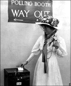 Christabel Pankhurst, British suffragette leader, casting her first vote. (Sometimes mis-identified as her mother, Emmeline Pankhurst, who was much older at the time of the victory. James Naismith, Belle Epoque, Emiline Pankhurst, Great Women, Amazing Women, Art Nouveau, Suffrage Movement, Liberty, Bass