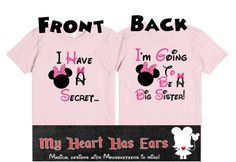 I have a secret, big sister Minnie Mouse t-shirt. The perfect shirt for the big reveal!