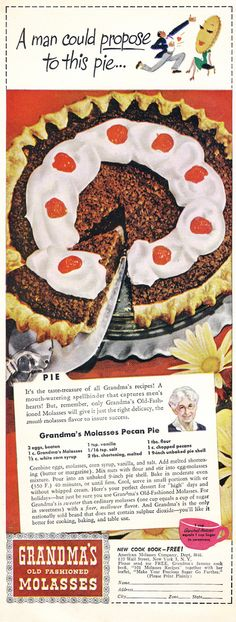 Grandma's Molasses Pecan Pie - Clearer version of the recipe at the bottom of http://pzrservices.typepad.com/vintagerecipes/1940s-recipes/