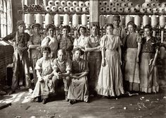 """Nice Threads: The workplace of 100 years ago. """"Operatives in Indianapolis Cotton Mill. Noon Hour. August 1908."""" Photograph by Lewis Wickes Hine."""