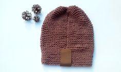 Knit Women Hat/ Knitted Hat/ Brown Hat/ Teen by NataNatastudio
