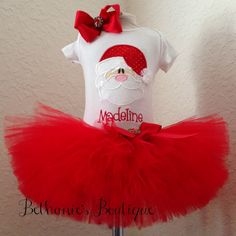 Christmas Santa Tutu Set Holiday outfit Christmas by TooTuTuCute, $45.00