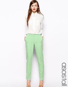 €50, Pantalones Pitillo Verde Menta de Asos. De Asos. Detalles: https://lookastic.com/women/shop_items/97854/redirect