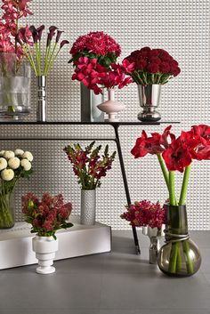 Enjoy the freshest possible buds and blooms, delivered by dashing drivers directly from the flower markets of Holland to your home or office. In place of tiresome mixed arrangements, Flowerbx delivers single-varietal bunches, such as these mulberry hyacinths, amaryllis, jazzberry jam chrysanthemums, black calla lilies, magenta snapdragons, burgundy cymbidiums and vanda orchids. #wallpaperdesignawards