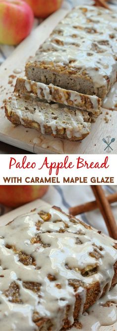 A paleo spin on a fall-inspired bread - this paleo apple bread is moist and full of apple flavor, topped with a decadent 'caramel' maple glaze. A must make! Gluten free, dairy free and no refined sugar.