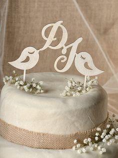 Topper torta rustica legno Cake Topper di forlovepolkadots su Etsy