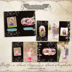 Pretty in Black 4x8 Accordion book templates por 7thavenuedesigns