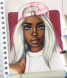 Wavy World 💖 Arte Dope, Dope Art, Black Girl Art, Black Women Art, Cartoon Kunst, Cartoon Art, African American Art, African Art, Dope Kunst