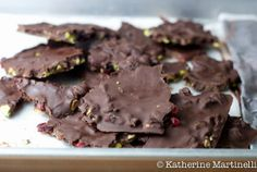 """""""Pistachio, Cherry and Dark Chocolate Bark by katherinemartinelli as adapted from Sensational Cooking for One: Easy!"""" stopit, I love pistachio combos Just Desserts, Delicious Desserts, Dessert Recipes, Yummy Food, Chocolate Bark, Chocolate Desserts, Chocolate Cherry, Paleo Chocolate, Chocolate Color"""