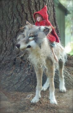 Big Wolf and Little Red Needle Felting