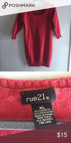 Red Sweater Dress Brand new never worn red sweater dress. Has quarter sleeves. Super comfortable and cute! READ INFO BELOW!!! No trades, all sales are final.   Always willing to negotiate prices, make me an offer!   Bundles of 3 or more are 10% off!!!   I ship between 2-3 days based on my work/ school schedule and the lack of a home printer.  All items come from a smoke free home!   Feel free to ask anymore questions you have(: Rue 21 Dresses