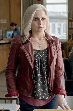 Liv's black floral top and red leather jacket on iZombie. Outfit Details: http://wornontv.net/47975/ #iZombie