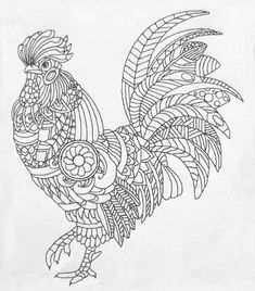 Zentangle Cock machine embroidery design.  image 1 Chicken Coloring Pages, Horse Coloring Pages, Printable Adult Coloring Pages, Mandala Coloring Pages, Colouring Pages, Coloring Books, Coloring Sheets, Free Coloring, Animal Pictures To Color