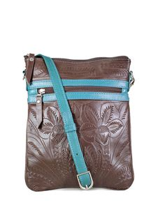 Leaders in Leather Classic Skinny Crossbody Tooled Tote