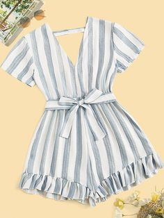 Belt: Yes Color: Multicolor Details: Backless, Belted, Ruffle Hem Fabric: Fabric has no stretch Fit Type: Regular Fit Length: Crop Lining: No C Girls Fashion Clothes, Teen Fashion Outfits, Mode Outfits, Outfits For Teens, Girl Fashion, Girl Outfits, Girl Clothing, Cute Casual Outfits, Cute Summer Outfits