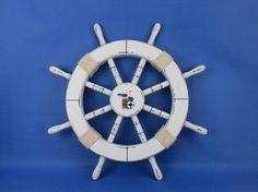 Whitewashed Wooden Ship Wheels 18 w/ Rope by NauticalBeachDecor