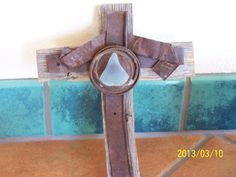 New Mexico Aqua Desert Sea Glass, Wire and  Metal Rustic Cross on Etsy, $25.00