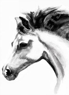 Arabian horse - Animal black ink art print by LelianaShop on Etsy Black Arabian Horse, Black Horses, Arabian Horses, Wild Horses, Black Ink Art, Black And White Painting, Animal Art Prints, Animal Drawings, Ink Painting