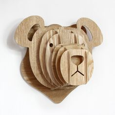 2017 New Creative Wall Decoration Wooden Kindergarten Cute Bear Children Room Metope Color Animal Head Ornaments Free Shipping