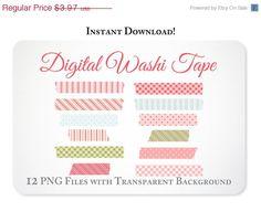 Instant Download Pink Blue & Green Digital Washi Tape Clipart Clip Art -https://www.etsy.com/listing/124119262