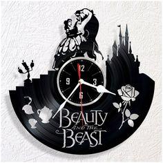 Wall clock vinyl Beauty and the Beast