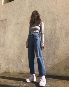 Aesthetic vintage art hoe trendy casual cool edgy grunge outfit fashion style idea ideas inspo inspiration for school for women winter summer baggy jeans Look Fashion, 90s Fashion, Korean Fashion, Fashion Outfits, Mode Outfits, Trendy Outfits, Fall Outfits, Zalando Style, Mode Ootd