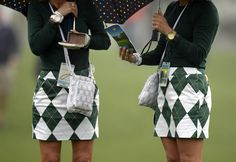 Golf fans in matching outfits at Augusta National Golf Club, Georgia, before the start of the Masters golf tournament. Photograph: Timothy A. Clary / AFP / Getty Images