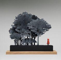 John Morris - Little Red Riding Hood, Timber, Fibreboard, paint, 12 x 43.5cm x 37.5cm