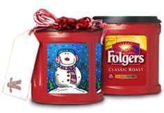 Folgers has come up with a way to recycle their coffee cans. They even provide several templates to choose from. First, soak in a vinegar and water solution to get rid of the coffee smell. CUTE way to give cookies to neighbors!