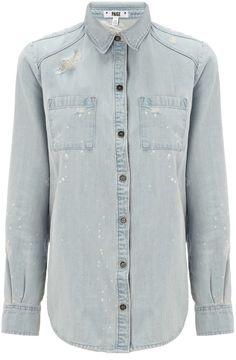 $290, Light Blue Denim Shirt: Paige Denim Deconstructed Denim Eden Shirt. Sold by Avenue32. Click for more info: https://lookastic.com/women/shop_items/173686/redirect