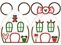 Gingerbread House Miss and Mister Mouse SET machine applique embroidery design, Multiple Sizes including 4 inch