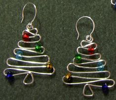 "Need properly sized beads and wire"" - Christmas Tree Earrings Wire Wrapped Jewelry, Wire Jewelry, Beaded Jewelry, Handmade Jewelry, Jewlery, Pandora Jewelry, Earrings Handmade, Jewelry Box, Diy Schmuck"