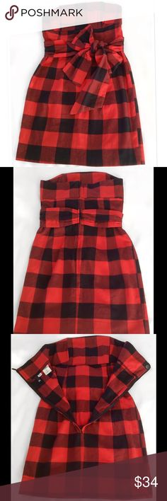 """🎉HP🎉Plaid Flannel Strapless Holiday Dress Brand new with out tags, fabulous condition. So chic & on trend. Thick, soft, Flannel mini strapless dress w/full zipper back. Big Beautiful Belt to tie in a bow 3"""" thick, gives stability. Reinforcing horizontal wire cups. Labeled sz 36, exact measurements 30""""-31"""" Bust. 30"""" Waist. 30"""" Full Length. Where are all my Rockabilly girls?! Just add black Stilleto's or Booties. Bundle for fantastic discount. Open to offers. H&M Dresses Strapless"""