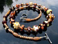 Lampwork Bead Necklace Handmade Glass Handcrafted Wearable Art Jewelry SRA SRAJD