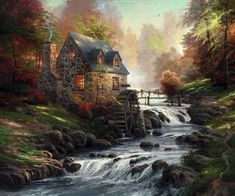 Thomas Kinkade Cobblestone Mill print for sale. Shop for Thomas Kinkade Cobblestone Mill painting and frame at discount price, ships in 24 hours. Cheap price prints end soon. Landscape Paintings, Art Thomas, Canvas Frame, Painting, Art, Cross Paintings, Pictures, Thomas Kinkade Art, Art Pictures