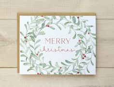 Christmas Cards Christmas Card Set Christmas Wreath Cards - Wreath Christmas Cards Featuring An Original Illustration With Hand Painted Watercolors Pale Green Watercolor Wreath With Red Berries And A Holiday Message Choice Of Message On Front Of Card Sele Merry Christmas Card, Xmas Cards, Christmas Art, Handmade Christmas, Holiday Cards, Christmas Wreaths, Christmas Decorations, Simple Christmas, Christmas Card Designs