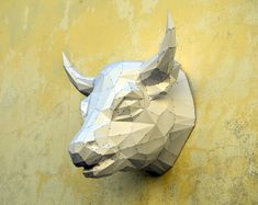 Make Your Own Bull Sculpture.  Bull Papercraft  by PlainPapyrus