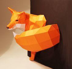 DIY fox sculpture || Fuchs Halb-Aus-Der-Wand, Reineke Skulptur DIY von Paperwolfs Shop auf DaWanda.com