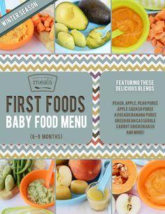 First Foods (6-9 months) Winter Menu