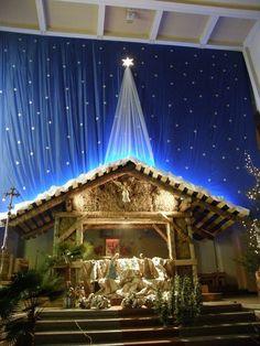 Christmas Cave, Christmas Crib Ideas, Christmas Nativity Set, Christmas Village Display, Christmas Frames, Christmas Candles, Church Altar Decorations, Church Christmas Decorations, Christmas Eve Service