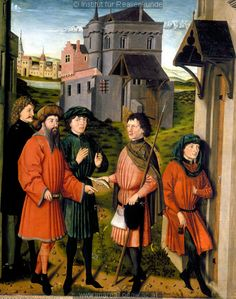 The messenger gives the fish to the duke in Scenes from the Life of St. Ulrich, 1450-1455