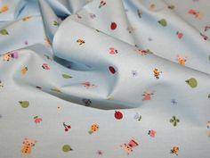 Baby Blue Cute Kitten Children's Print Cotton Poplin Fabric - per metre