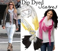 Dip Dyed Scarves from Henry Happened  Read directions here: http://www.henryhappened.com/diy-dip-dyed-scarf.html