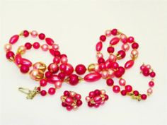 Vintage beaded necklace and earrings set.  True vintage costume jewelry from the  1950's - 1960's era. Made in Hong Kong.