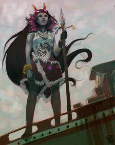 secretarybird:  Falloutstuck Feferi, amazon queen of my heart  i am all aboard for this,