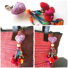 Pink Heart Hanging Little Pom Poms Keychain Zip Pull Bag Accessory Decoration by Handmade. (AC1007-PI)