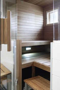 Sauna in the master bath. Sauna Steam Room, Sauna Room, Small Basement Bathroom, Bathroom Ideas, Bathroom Plumbing, Bathroom Layout, Jacuzzi, Design Sauna, Sauna Hammam