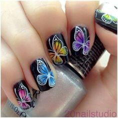 DIY Butterfly Nail Art Ideas and Tutorials Today we are sharing with you a roundup of cute gorgeous butterfly nail art designs. Butterfly nail art is very popular. You can use any imaginable combination of colors and can get… Butterfly Nail Designs, Butterfly Nail Art, Nail Designs Spring, Butterfly Wings, Butterfly Colors, Fancy Nails, Love Nails, Pretty Nails, My Nails