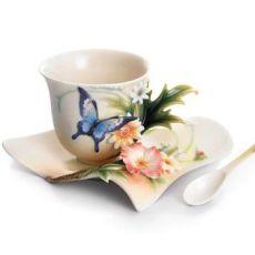 Franz Porcelain Fluttering Beauty Butterfly Cup Saucer & Spoon